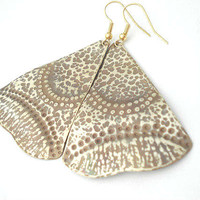 Unique Handmade Earrings-Gold Bronze Hand Hammered Earrings-Patina Double Faced-Long Dangle Earrings-Unique Pattern-Contemporary Earrings
