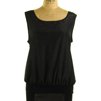 Vintage Black Tank Top - Blouse Satin 80's 90's - Women's Size Medium Med M - Sale