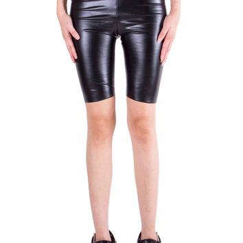 Vegan Leather Biker Shorts