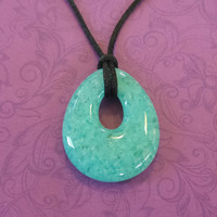 Aqua Blue Necklace, Modern Teardrop Necklace, Glass Donut Ready to Ship - Victoria - 4727 -4