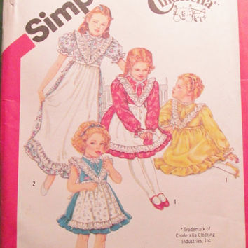 Sale Uncut 1980's Simplicity Sewing Pattern, 5907! Size 4 Girls/Child/Kids/Cinderella Clothing/Prairie Dresses/Knee Length/Ankle Length/Ruff
