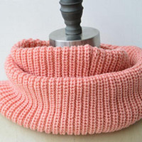 Pink Knit Funnel Scarf = Thanksgiving Christmas Gift