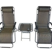 Zero Gravity 3 Piece Set Reclining Pool Patio Outdoor Lounge Chairs & Table