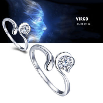 925 Sterling Silver 12 Constellations Zodiac Crystal Ring (Virgo)