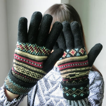 Cozy Design Women's Knitted Gloves with Roll Up Cuffs for Winter Color Black