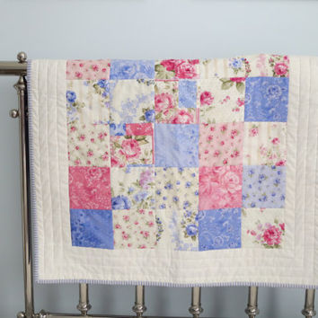 Baby Girl Quilt, Pinks and Purples Shabby Chic Nursery, Crib Quilt