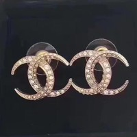 8DESS Chanel Women Fashion Diamonds Stud Earring Jewelry