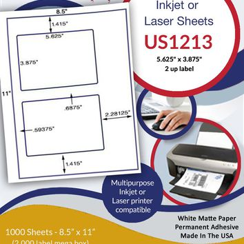 "US1213 - 5.625"" x 3.875"" - 2 up label  on a 8 1/2"" x 11"" inkjet and laser sheet."