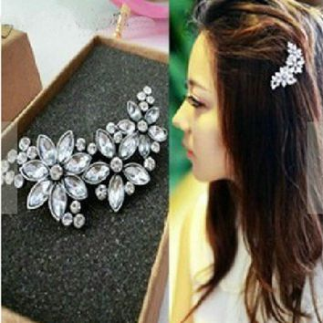 Bridal wedding crystal vintage hairpins bandage on head comb flower hair clip with rhinestones multipurpose pins for Women