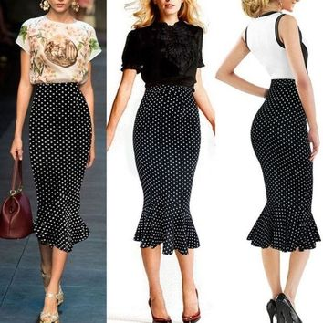 PEAPIX3 VfEmage Womens Vintage Polka Dot High Waist Party Cocktail Mermaid Pencil Midi Skirt = 1932572292