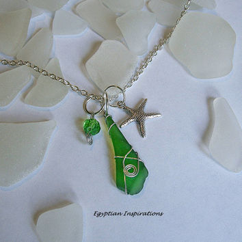 Green sea glass necklace. Wire wrapped sea beach glass necklace. Sea glass jewelry.
