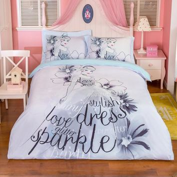 Pretty Love Glitter Sparkle Stylish Dress Printed 100% cotton Bedding Sets for Girls 3/4pcs Duvet Cover Set Pillowcases Sheet
