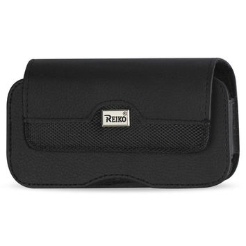 Reiko HORIZONTAL LEATHER POUCH XXL IN BLACK WITH BELT HOOPS AND METAL LOGO (5.12X2.91X0.94 INCHES PLUS)
