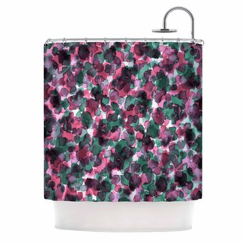 "Ebi Emporium ""WILD THING, PINK GREEN"" Magenta Green Animal Print Abstract Watercolor Mixed Media Shower Curtain"