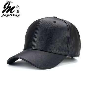 Trendy Winter Jacket Joymay 2016 NEW PU Leather Baseball Cap Hip Hop caps gorras Snapback Hat Biker Trucker For Men women  B361 AT_92_12