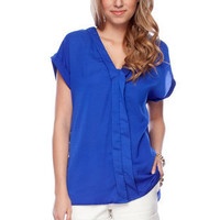 Placket Up Blouse in Royal Blue :: tobi