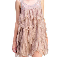 RYU Sleeveless Tiered Lace Babydoll Tunic Dress