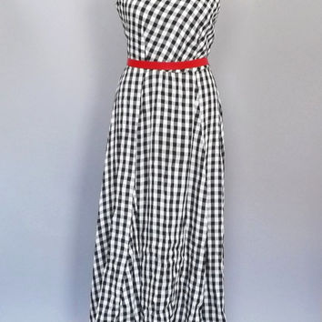 Vintage 1980's 90's does 50s Black White Gingham Plaid Checkered Maxi Dress Rayon Sundress Medium Large Tank Dress Hipster Country Folk