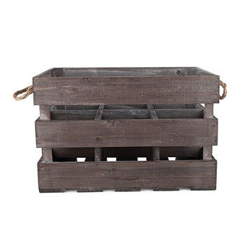 Rustic Farmhouse Wooden 6 Bottle Crate by Twine