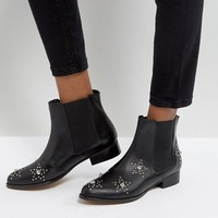 DEPP Leather Star Studded Boots at asos.com