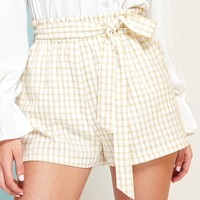 Paperbag Waist Self Belted Plaid Shorts