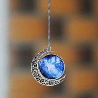 Moon necklace, moon and galaxy necklace, universe necklace, necklace, crescent necklace, crescent moon necklace, unique necklace,unique gift