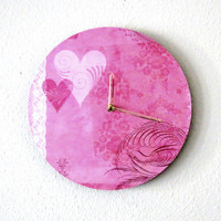 Unique Wall Clock,  Valentine Pink,  Decor and Housewares, Home and Living, Home Decor, Wall Decor, Unique Clock