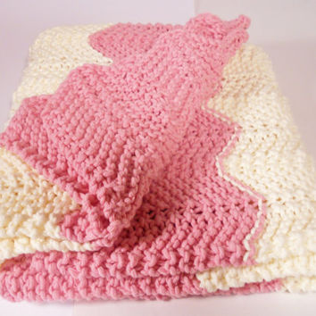 Soft Chevron Baby Blanket, Knit Chevron Pram Blanket, Knit Chevron Stroller Blanket, Baby Gift, Pink and Winter White - Ready to Ship