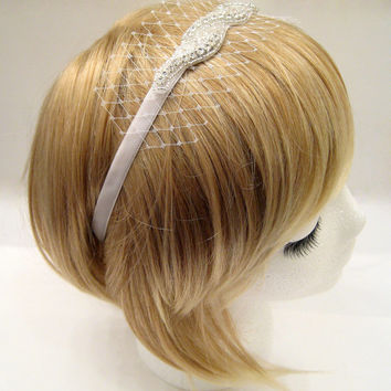 The Marilyn (ribbon tie headpiece) -  Bridal headpiece with veiling, Old Hollywood, rhinestone wedding netting hairpiece, veil alternative