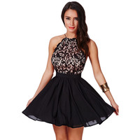 Backless Fashion Female Lace Stylish Dress One Piece Dress = 4804140100