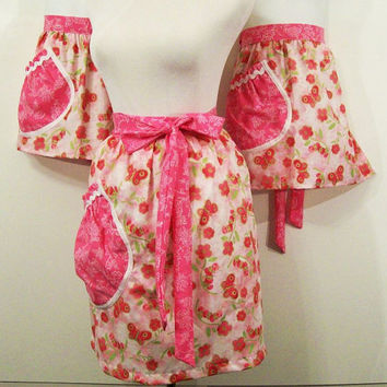 Mom Daughter Apron Set-Floral with Deep Pink--3 Pc Set-Made in the usa----#137--READY TO SHIP