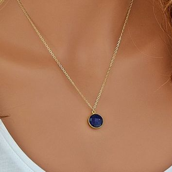 Sapphire Necklace, September Birthstone, Gold Necklace, Gift For Her, Minimal Necklace, Blue Sapphire Necklace, Simple Necklace