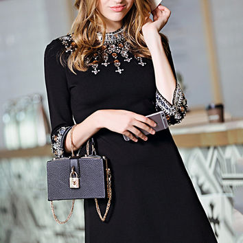 Black Beaded Round Neck 3/4  Sleeve A-Line Mini  Dress