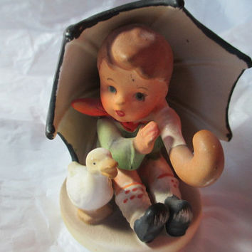 Porcelain Boy Under Umbrella With Duck Crossed Arrows #3727 Made in Japan Vintage Miniature