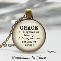 Grace Dictionary Definition Glass Dome Necklace