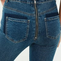 Missguided - Blue Denim Sinner Back Zip Detail Skinny Jeans