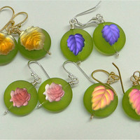 Fruity German glass earrings.  Frosted molded . Rose, green, leaf. ONE PAIR