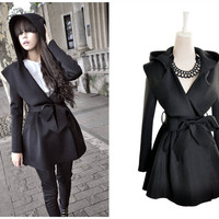 Black Long Sleeves  Bow Waist Hooded Trench Coat