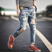 Men's Fashion Ripped Holes Fashion Jeans [10271186563]