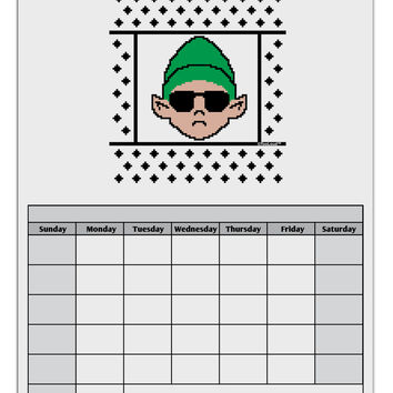 Cool Elf Christmas Sweater Blank Calendar Dry Erase Board