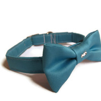 Designer Dog collar and Bow - Turquoise Satin Dog Collar with matching Bow - Satin Dog collar, Dog collar and Bow