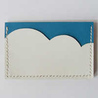 Business Card Holder - Leather Card Holder with Light Blue Sky and White Cloud - Handmade and Hand Stitched - Free Monogram