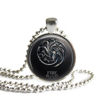 Game of Thrones House of Targaryen Necklace Handmade Silver Plated Pendant on a Ball Chain