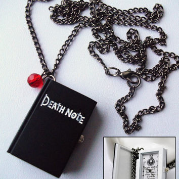 Death Note Pocket Watch Long Necklace With Ruby Red Apple Crystal Detail