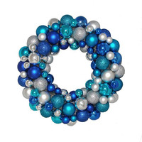 Christmas Wreath - Shatterproof Blue And Silver Ball Ornaments