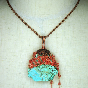 African Turquoise Pendant Necklace with Copper Rose Gold Crocheted Chains OOAK Unique Handmade in USA