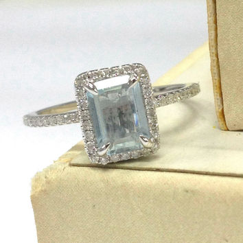 Aquamarine Engagement Ring 14K White Gold!Diamond Wedding Bridal Ring,Claw Prongs,5x7mm Emerald Cut Blue Aquamarine,Halo Ring,Can Match Band