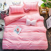 New Style Bedding Set Polyester Pink Stripe Design Duvet Cover Set Flat Sheet Pillowcase Twin Full Queen Size King Bed Set