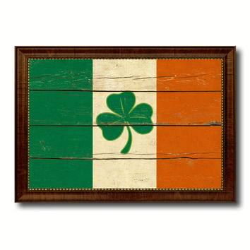 Ireland Saint Patrick Military Flag Vintage Canvas Print with Brown Picture Frame Gifts Ideas Home Decor Wall Art Decoration