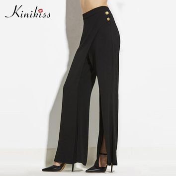Women Pants Black Mid Bell bottoms New Plain Zippers Pocket Female New Fashion Girls Casual Pants